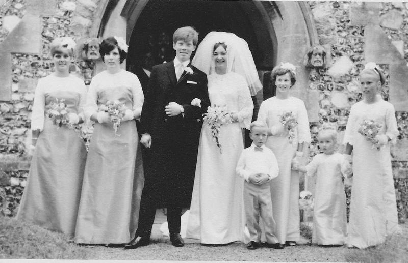 A 1960s Wedding Bride Groom and Bridesmaids