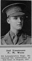 Waite F M 2nd Lt 4th Leicestershire Regiment The Sphere 7th Aug 1915
