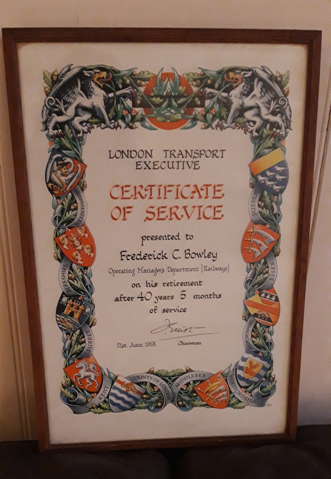 Frederick Charles Bowley Certificate Of Service London Transport  Executive