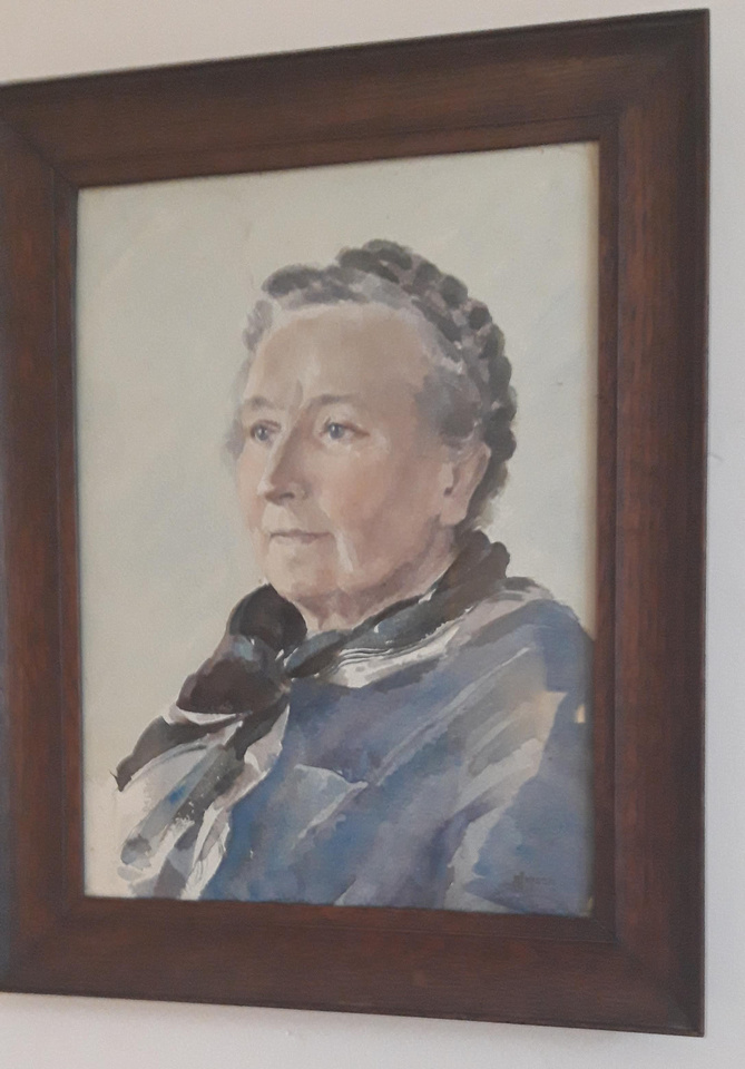 Watercolour Portrait Of An Old Lady By S Jepson