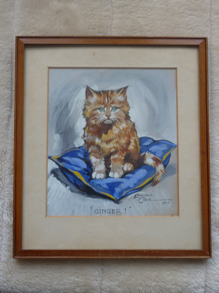 Watercolour A Ginger Cat By Edward Cole 1923