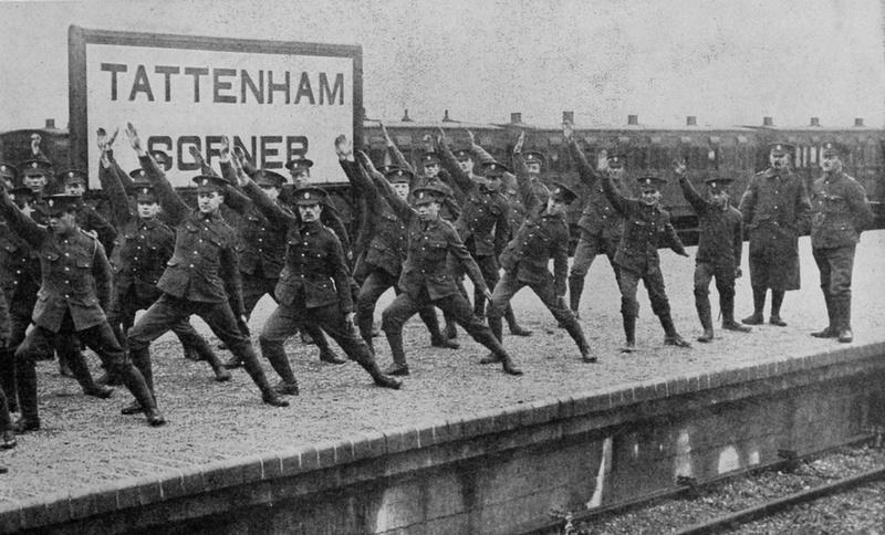 1st Battalion London Regiment At Swedish Drill On Tattenham Corner Station Platform