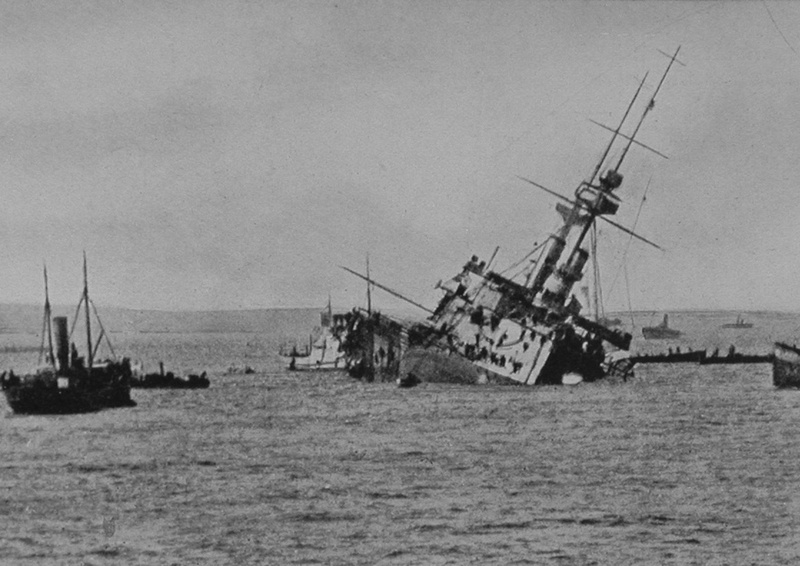 The Majestic Sinking After Being Torpedoed In The Dardanelles 27th May 1915