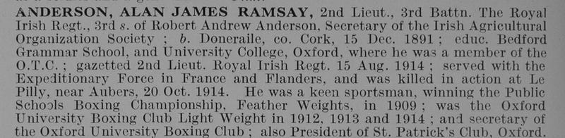 UK Photo And Social History Archive: A &emdash; Anderson A J R 2nd Lt 3rd Royal Irish Regiment Obit