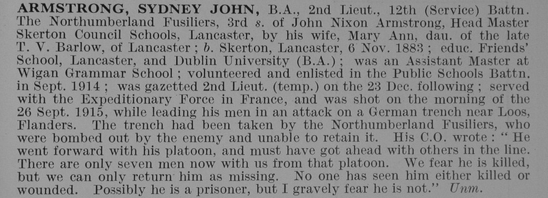 UK Photo And Social History Archive: A &emdash; Armstrong S J 2nd Lt 12th Northumberland Fusiliers Obit