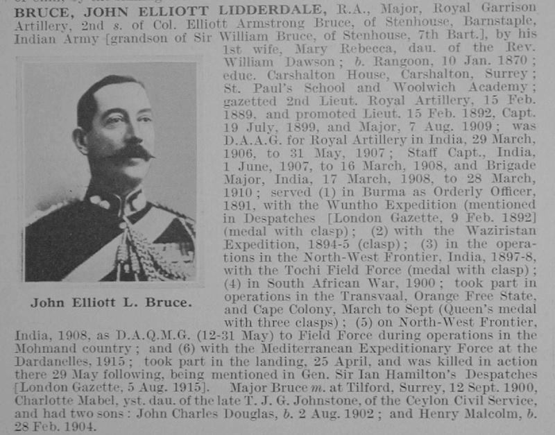UK Photo And Social History Archive: B &emdash; Bruce J E L Major Royal Garrison Artillery Obit