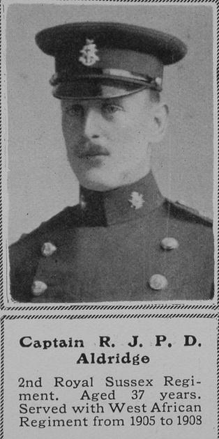 UK Photo And Social History Archive: A &emdash; Aldridge R J P D Captain 2nd Royal Sussex Regiment The Sphere 24th Oct 1914