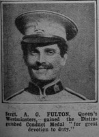 Fulton A G Sergt DCM London Regiment The War Illustrated 24th July 1915