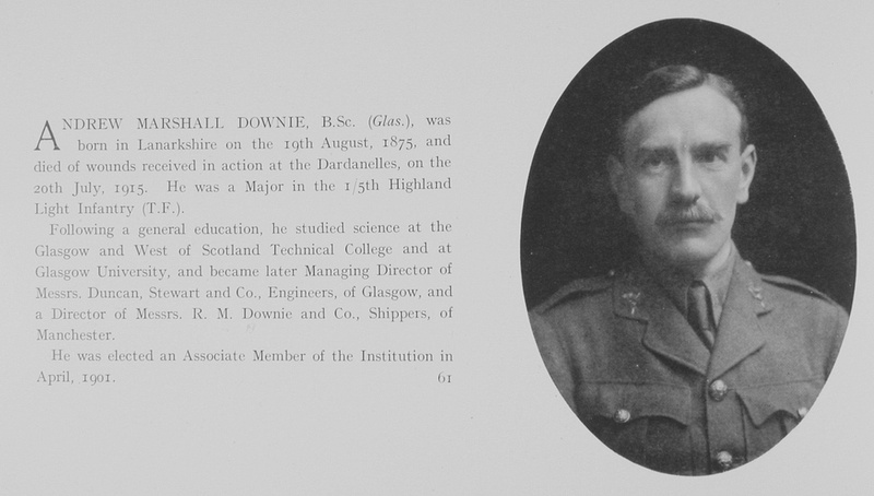 UK Photo And Social History Archive: The Institution Of Civil Engineers Memorial Volume 1914-1919 &emdash; Downie A M Major 5th Highland Light Infantry Obit