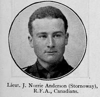 Anderson J N Lt Canadian Field Artillery Ross-Shire Roll Of Honour