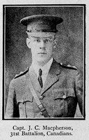 Macpherson J C Captain 31st Canadian Infantry Ross-Shire Roll Of Honour