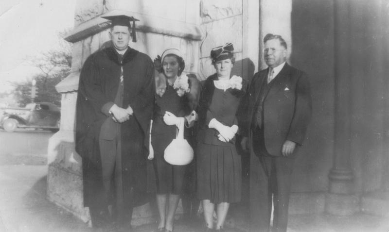 Vintage Photo Family Attending A Graduation 1948
