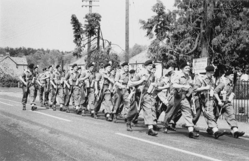 British Army Marching In Aldershot