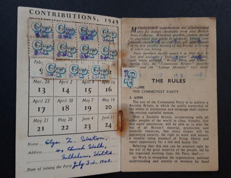 A Communist Party Membership Card 1949 Mrs Olga Z Weston 4 Church Walk, Melksham, Wiltshire.