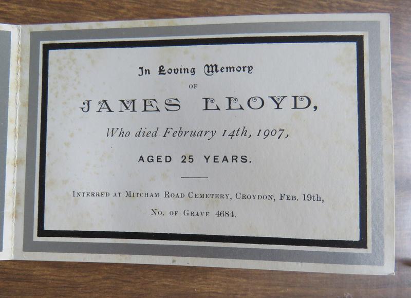 Memorial Card James Lloyd 65 Union Road Croydon Died 14th Feb 1907