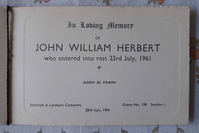Memorial Card John William Herbert Died 1961 Lambeth Cemetery
