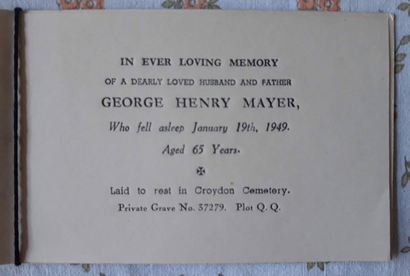Memorial Card George Henry Mayer Died 19th Jan 1949