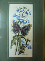 Vintage Cash's Woven Picture Camberwell Beauty Butterfly & Blue Eyed Mary Flower