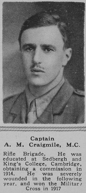 UK Photo Archive: C &emdash; Craigmile A M Captain MC 6th Rifle Brigade The Sphere 8th June 1918