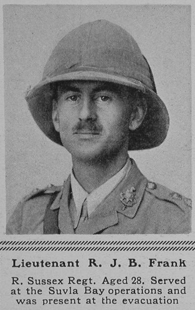 UK Photo Archive: F &emdash; Frank R J B Lt 4th Royal Sussex Regiment The Sphere 5th Aug 1916