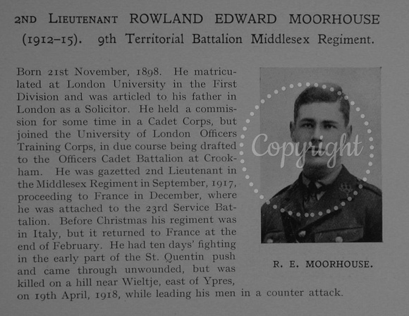 UK Photo Archive: Dulwich College War Record 1914-1919 &emdash; Moorhouse R E 2nd Lt 9th Middlesex Regiment Obit Dulwich College Roll Of Honour