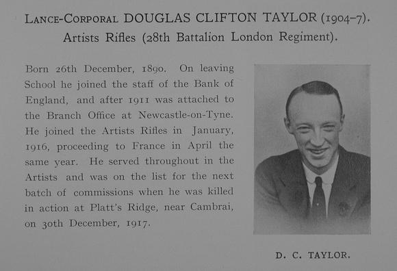 UK Photo Archive: Dulwich College War Record 1914-1919 &emdash; Taylor D C LCpl 28th London Regiment Obit Dulwich College Roll Of Honour