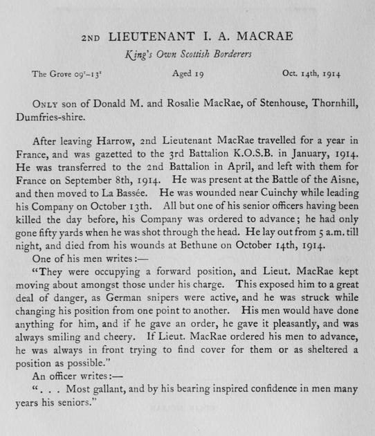 UK Photo Archive: Harrow Memorials Of The Great War Vol 1 1914-1918 Obituaries &emdash; MacRae I A 2nd Lt Kings Own Scottish Borderers Obit