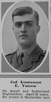 Yarrow E 2nd Lt 7th Argyll Sutherland Highlanders The Sphere 26th Jun 1915
