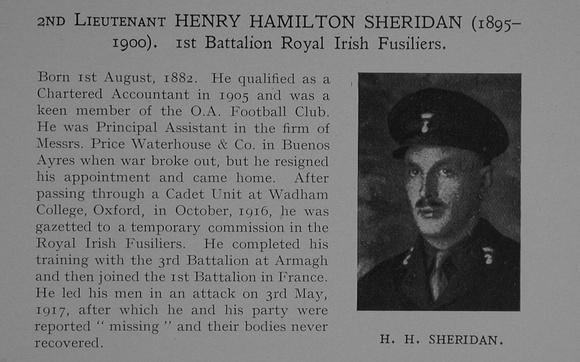 UK Photo Archive: Dulwich College War Record 1914-1919 &emdash; Sheridan H H 2nd Lt 1st Royal Irish Fusiliers Obit Dulwich College Roll Of Honour