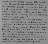 Bainbridge T L Lt 5th Northumberland Fusiliers Obit Part 3 The Bond Of Sacrifice Vol 2