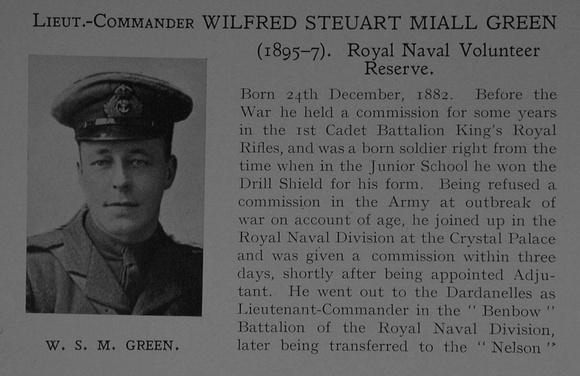 UK Photo Archive: Dulwich College War Record 1914-1919 &emdash; Green W S M Lt Comm Benbow Bn. R.N. Div. Royal Naval Volunteer Reserve Obit Part 1 Dulwich College Roll Of Honour
