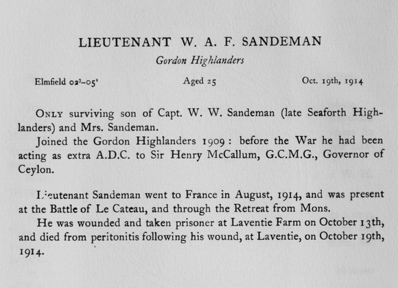 UK Photo Archive: Harrow Memorials Of The Great War Vol 1 1914-1918 Obituaries &emdash; Sandeman W A F Lt Gordon Highlanders Obit