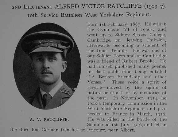 UK Photo Archive: Dulwich College War Record 1914-1919 &emdash; Ratcliffe A V 2nd Lt 10th West Yorkshire Regiment Obit Dulwich College Roll Of Honour