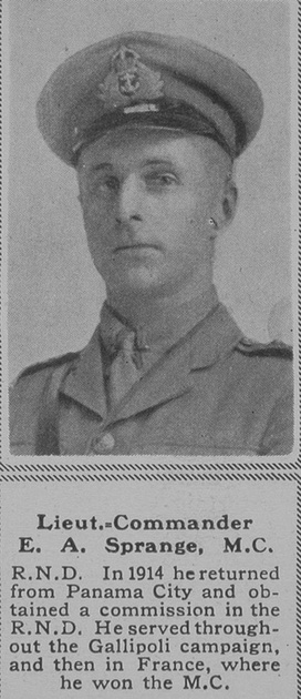 UK Photo Archive: S &emdash; Sprange E A Lt Comm MC Anson Btn RNVR The Sphere 2nd Nov 1918