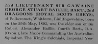 Baillie G G S 2nd Lt 2nd Dragoons Royal Scots Greys Obit Part 1 he Bond Of Sacrifice Vol 1