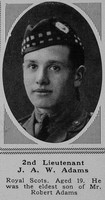 Adams J A W 2nd Lt 9th Royal Scots The Sphere 23rd June 1917
