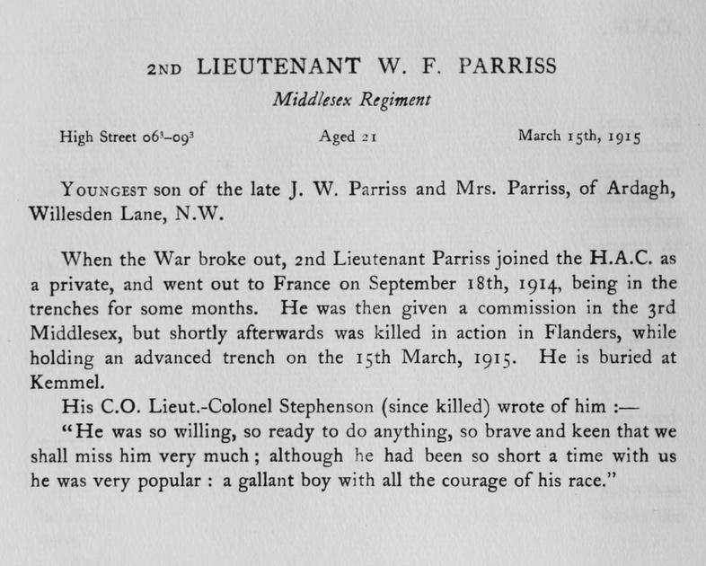 UK Photo Archive: Harrow Memorials Of The Great War Vol 1 1914-1918 Obituaries &emdash; Parriss W F 2nd Lt Middlesex Regiment Obit