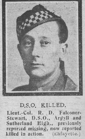 UK Photo Archive: The Graphic F &emdash; Falconar-Stewart R D Lt Col DSO Argyll Sutherland Highlanders The Graphic 10th Oct 1918