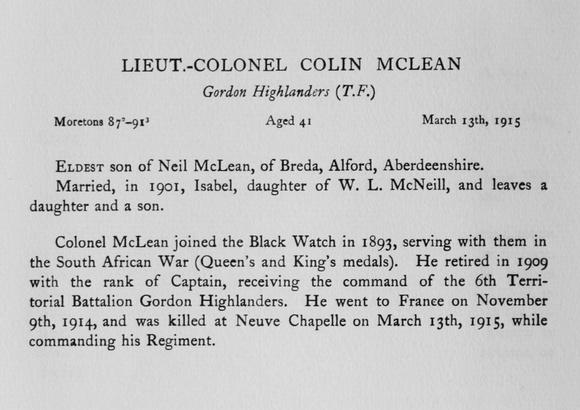 UK Photo Archive: Harrow Memorials Of The Great War Vol 1 1914-1918 Obituaries &emdash; McClean C Lt Col Gordon Highlanders Obit