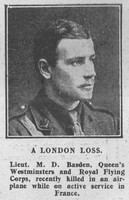 Basden M D Lt Royal Flying Corps The Graphic 24th July 1916