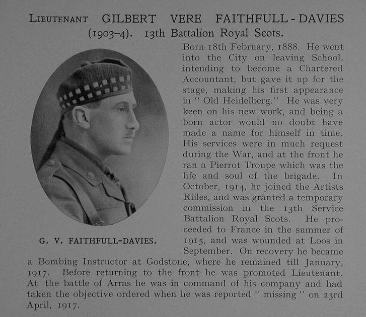 UK Photo Archive: Dulwich College War Record 1914-1919 &emdash; Faithfull-Davies G V Lt 13th Royal Scots Obit Dulwich College Roll Of Honour