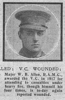 Allen W B Major VC Royal Army Medical Corps The Graphic 1st Nov 1918