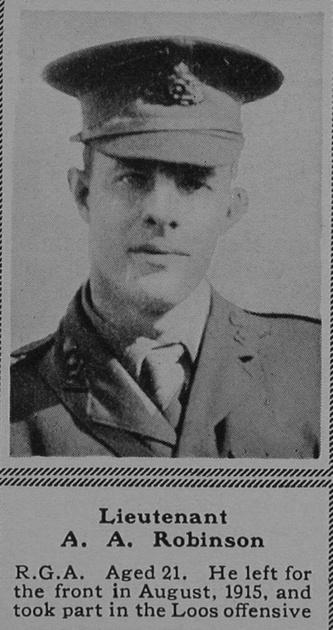 UK Photo Archive: R &emdash; Robinson A A Lt Royal Garrison Artillery The Sphere 16th Sep 1916