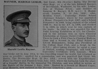 Rayner H L 2nd Lt 9th Devonshire Regiment Obit De Ruvignys Roll Of Honour Vol 3