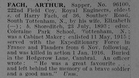 Fach A Sapper 96100 Royal Engineers Obit De Ruvignys Roll Of Honour Vol 5