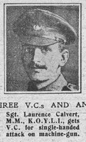 Calvert L Sergt VC MM 5th Kings Own Yorkshire Light Infantry The Graphic 18th Nov 1918
