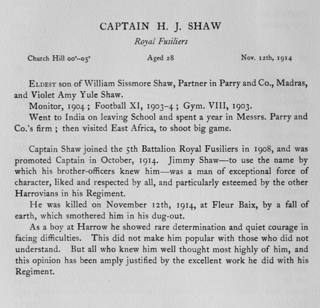 UK Photo Archive: Harrow Memorials Of The Great War Vol 1 1914-1918 Obituaries &emdash; Shaw H J Captain Royal Fusiliers Obit