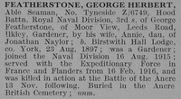 Featherstone G H AB RND Obit De Ruvignys Roll Of Honour Vol 3