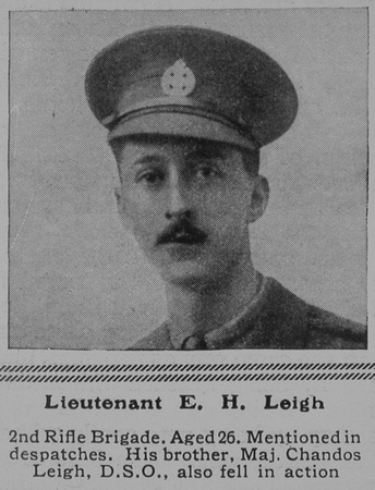 UK Photo Archive: L &emdash; Leigh E H Lt 2nd Rifle Brigade The Sphere 14th Aug 1915