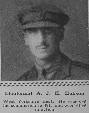UK Photo Archive: H &emdash; Hobson A J H Lt West Yorks Regt The Sphere 5th Jan 1918